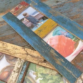 フォトフレーム ボート古材 木枠 写真立て (ポストカード/ 2枚用)