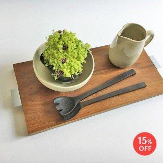 チーク + アイアン テーブル トレイ / ココナツオイル仕上(W-Lsize / 44cm)