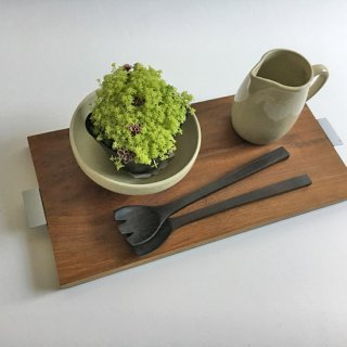 チーク + アイアン テーブル トレイ / ココナツオイル仕上 W-L 44cm (OIR-082)
