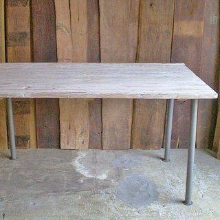 古材 ダイニングテーブル 天板 / ホワイト アンティークペイント 長方 -1400