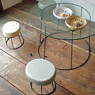 ガラス天板 アイアン コーヒーテーブル Φ600x高さ390mm 送料無料 (IFN-34)