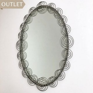 【OUTLET品】アイアン 壁掛けミラー 楕円形 SPIRAL / 430x600mm (IMR-20)
