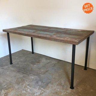【セットプライス】テーブル ボート古材天板 +アイアン脚 / 1350x750x730mm 送料無料 (IFS-06)