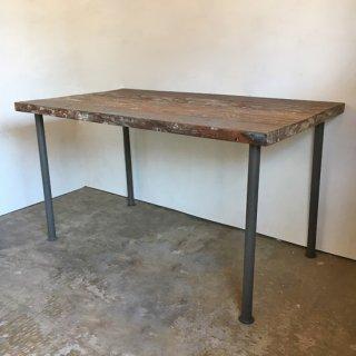 【セットプライス】テーブル ボート古材天板 +ブラックアイアン脚 / 1350x750x730mm 送料無料 (IFS-07)