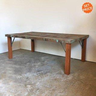 【セットプライス】センターテーブル 座卓 / ボート古材天板 +木とアイアン脚 / 1350x750x480mm 送料無料 (IFS-08)