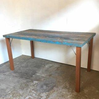 【セットプライス】ダイニングテーブル ボート古材天板 +木とアイアン脚 / 1500x780x730mm 送料無料 (IFS-10)