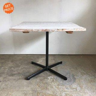 【セットプライス】正方テーブル 800mm / シャビーホワイト 古材天板 +アイアンスタンド / 送料無料 (IFS-14)