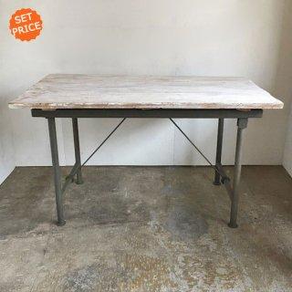 【セットプライス】テーブル シャビーホワイト 古材天板 +アイアンフレーム / 1400x800x810mm 送料無料 (IFS-15)