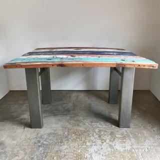 【セットプライス】古材テーブル ヴィンテージペイント天板 +アイアン鉄骨脚 / 1200x1200mm 送料無料* (IFS-19)