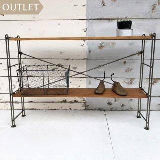 【訳あり家具】 アイアン シェルフ -D / チーク 無垢板 棚2段 卓上置 可動棚  送料無料