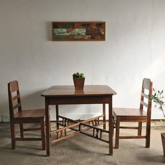 3点セット 正方テーブル ヴィンテージチェア