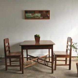 【3点セット】アンティーク 正方テーブル +ヴィンテージ チークチェア / 送料無料 (IFS-20)
