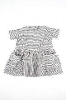 【AS WE GROW】 アズ ウィ グロウ/ポケットドレス/Striped linen ストライプリネン