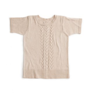 【AS WE GROW】 アズ ウィ グロウ/コットンニットレーストップス/Lace Front Short Sleeved Top シェル
