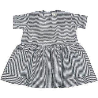 【AS WE GROW】 アズ ウィ グロウ/ポケットドレス/Grey White Striped ストライプ
