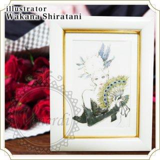 """【額セット】アートポストカード""""Bird""""孔雀ホワイト"""