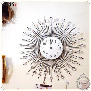 AMSガラスストーン付きアイアン掛け時計