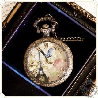 【web限定】懐中時計 ガラス蓋ネックレス時計 タワー