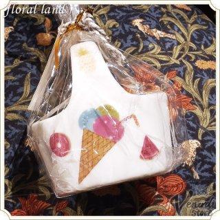 ポーセラーツ バスケット型 インテリア 小物入れ アイスクリーム