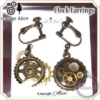 時計パーツと歯車イヤリング