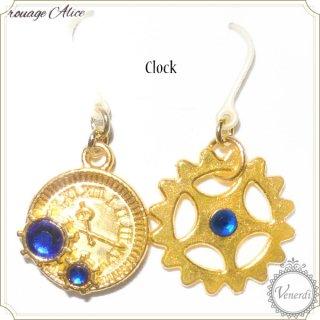 時計と歯車ピアス(ブルー)