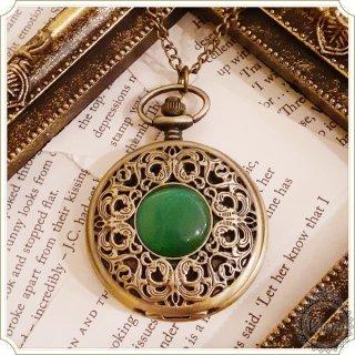 【web限定】懐中時計 グリーンの宝石