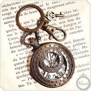 懐中時計キーホルダー 羅針盤 鍵付き