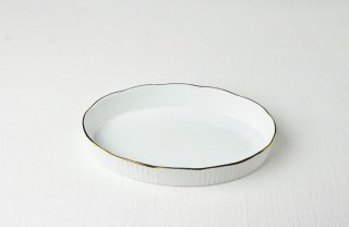 YH04 耐熱グラタン皿【白×金ライン】