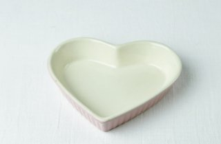 グラタン皿 ハート型/白×ピンク