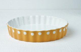 グラタン皿 丸型/白×オレンジ/水玉