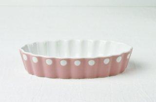 グラタン皿 丸型/白×ピンク/水玉