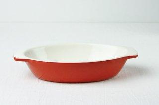 グラタン皿 楕円/白×赤