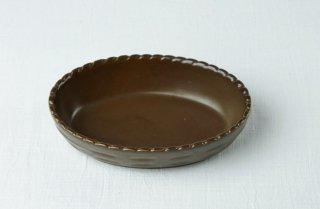 グラタン皿 楕円/茶