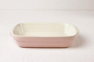 グラタン皿 長角/白×ピンク