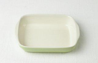 グラタン皿 長角/白×黄緑