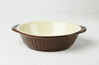 グラタン皿 丸/こげ茶