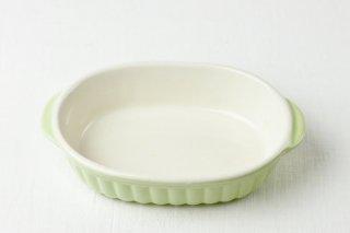 耐熱グラタン皿 楕円/白×グリーン