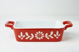 耐熱皿 長角/白×赤