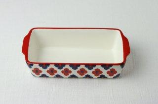 耐熱皿 長角/白×赤×青