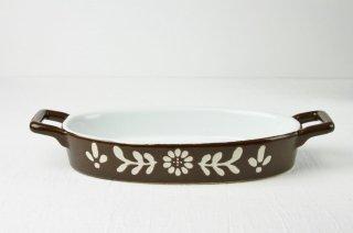 耐熱皿 楕円/白×茶