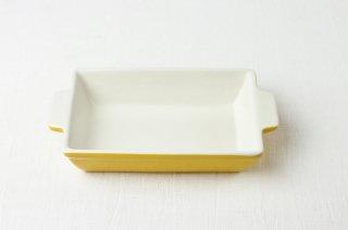耐熱皿 長角/白×イエロー