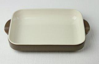 耐熱皿 長角/白×茶