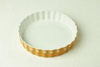 YH25 グラタン皿/オレンジ/水玉