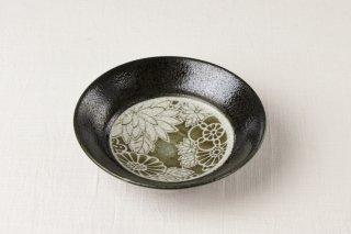 WB38 小鉢 黒×花