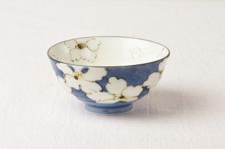 WB74 茶碗 青×白花
