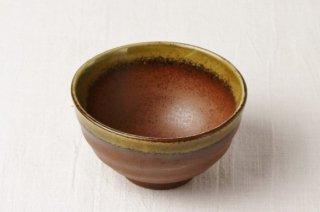 WB77 茶碗 茶×黄土色(口縁)