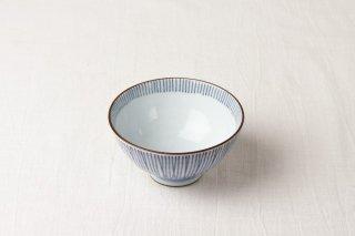 WB80 茶碗 白×青縦縞