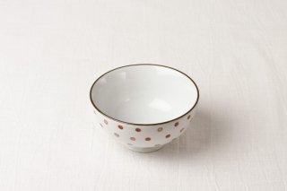 WB81 茶碗 白×赤水玉
