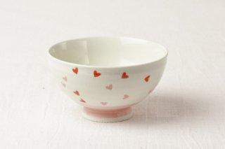 WB82 茶碗 白×赤ハート