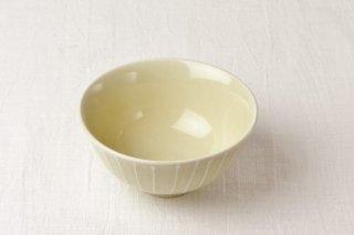 WB103 茶碗 黄×白縦縞